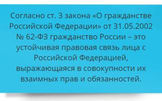 Понятие и принципы гражданства Российской Федерации